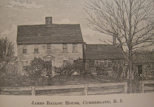 James Ballou III House Cumberland , from An Elaborate History and Genealogy of the Ballous, p91