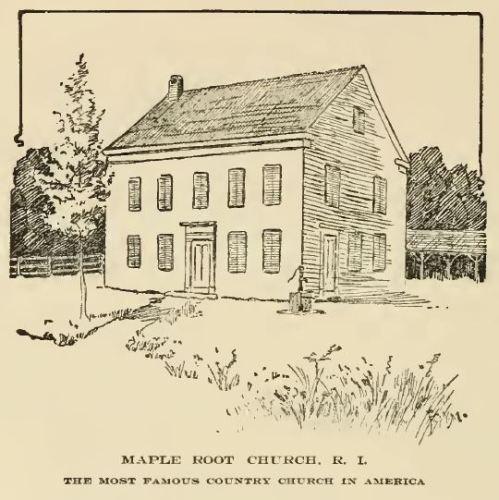 Maple Root Baptist Church, from The Greene Family and Its Branches by Lora S. LaMance, 1904,  p. 106.