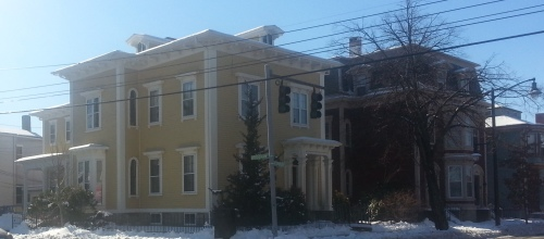 A home at the corner of Bridgham and Westminster (formerly High) Streets, Providence.  Any 1880's houses from the other three sides of the intersection are now gone.
