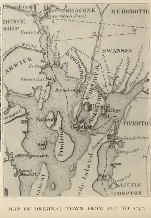 Map of Barrington-Warren-Bristol area, 1717-1747. Rhode Island towns and boundaries changed many times. From History of Barrington by Bicknell, p. 281.