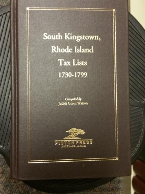 South Kingston, Rhode Island Tax Lists, 1730-1799. Photo by Diane Boumenot.