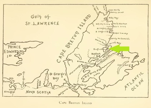 A Map of Cape Breton, Englishtown highlighted, from Down North, p. 158.