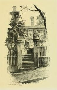 A Providence Door-yard. From Sketches of Early American Architecture by O.R. Eggers, 1922.