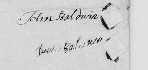 signatures of Davids uncles and guardians John Baldwin and David Baldwin, in Joseph Baldwin's probate packet.