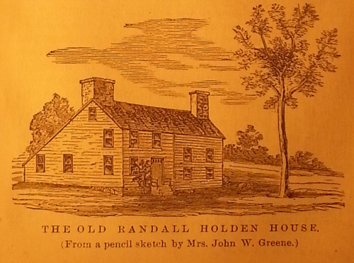 The Old Randall Holden House, from History of Warwick by Fuller.  Randall Holden is a possible ancestor, depending on the exact Arnold line I may discover for Sarah.