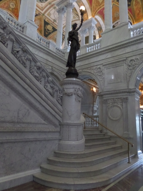 A closer view of one of the marble staircases.
