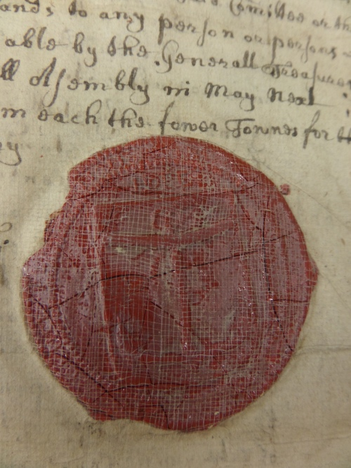 This early seal with an anchor was evidently meant to mark this as an official copy.  It appears many times in the volumes.
