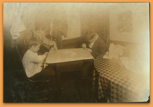 Setting stones in cheap jewelry, Ernest Lonardo, 11 years old, Thomas, 14 years old, 6 Hewitt Street, Providence, R.I. Location: Providence, Rhode Island. LC-DIG-nclc-04298 (color digital file from b&w original print)