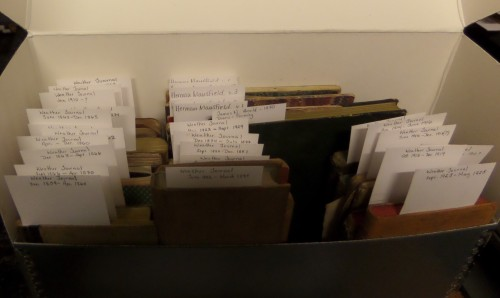 Arnold's weather diaries, kept for many years, plus some farm accounts. Box 4,