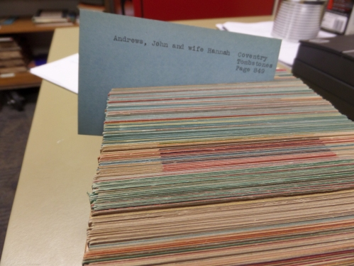 These colorful gravestone collection index cards were, I think compiled after James Arnold's death by volunteers.