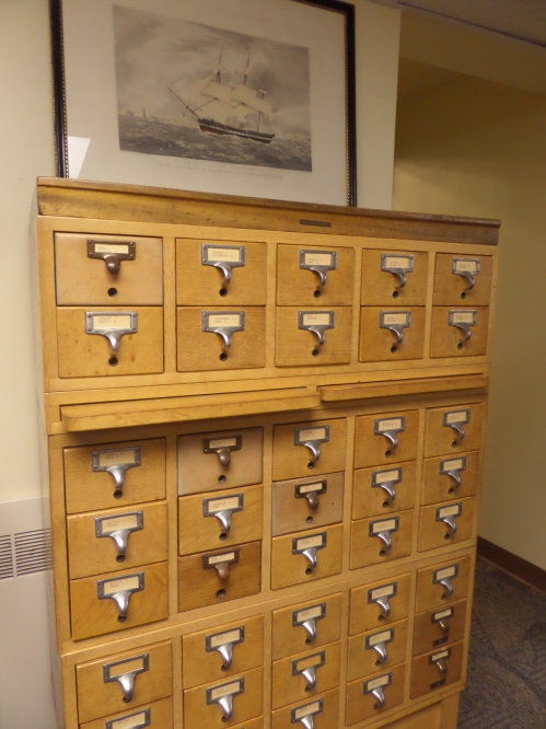 One of the two card catalogs containing various indices to parts of the collection.