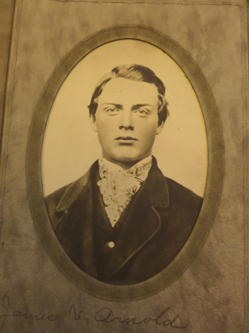 James Newell Arnold as a young man. I love this picture, he's quite a handsome young man. Hard to imagine he was already suffering from the affliction that was noticeable later in life, something that caused him to rely on crutches. Whatever the affliction was, could it have started later?