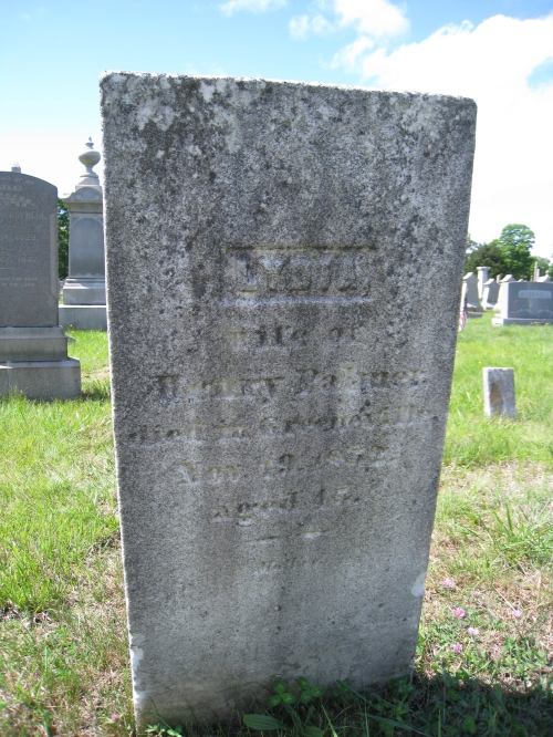 Lydia (Lamphere) Palmer's grave, from the same plot as Russell (Jr.) and Hannah Lamphere in Yantic Cemetery.
