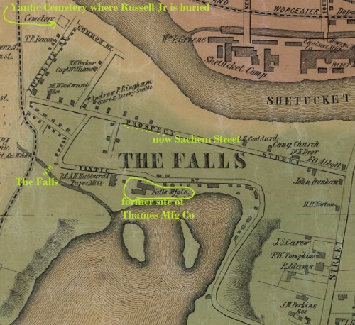The Falls in Norwich, on the Yantic River, from Map of New London County, Connecticut, Walling, 1854.
