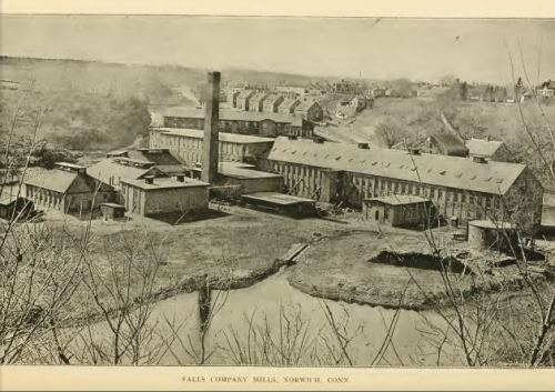 Falls Company, pictured in 1888.  By then, the factory was greatly expanded from the early days as the Thames Mfg. Co.