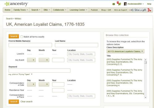 Ancestry.com set of Loyalist Claim papers
