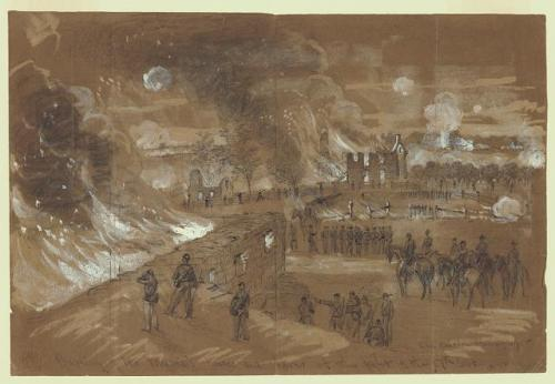 """Burning of Mr. Muma's houses and barns at the fight of 17th of Sept"" pencil and Chinese white drawing on brown paper by Alfred R. Waud. Library of Congress Prints & Photographs Catalog, LC-DIG-ppmsca-21452."