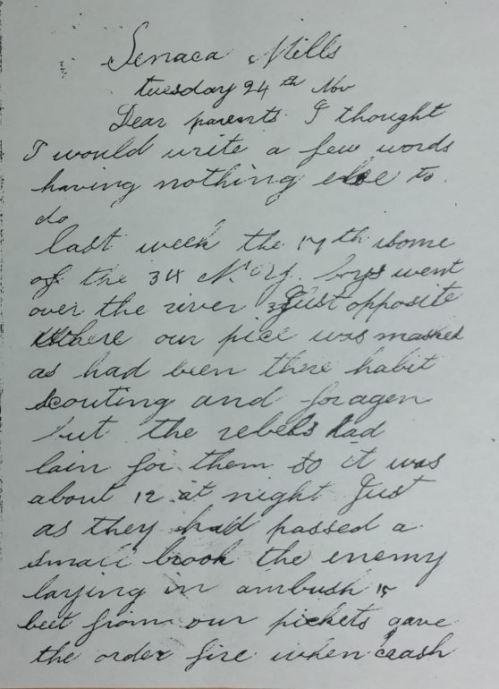 Letter from John H Lawrence, 24 Nov 1861.
