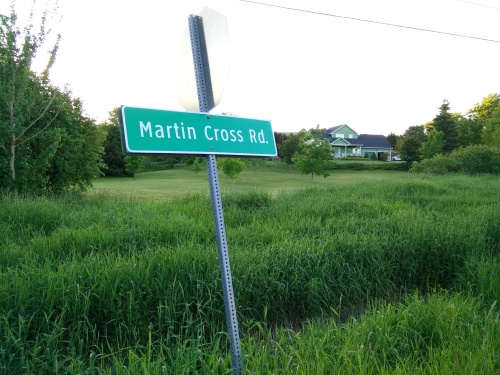 Pat must be a reader of my blog, and knew I would like a picture of the sign for Martin Cross Road, where the old Martin house is located.