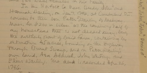 Notes from John and Hannah Darling's 1794 deed conveying half their homestead and 45 acres in the Burnt Swamp area, near my 6x-great grandfather Asa Aldrich.