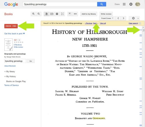 The Google book History of Hillsborough shows an EBOOK - FREE button.