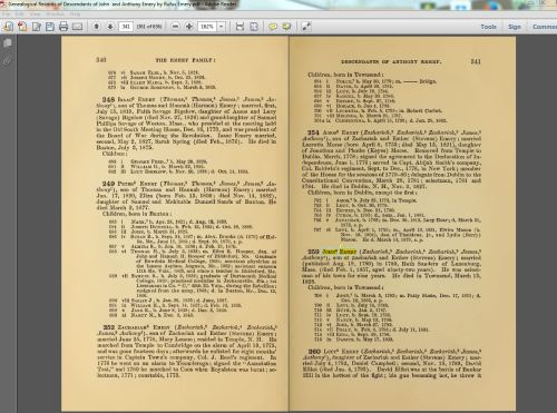 My pdf copy of Genealogical Records of the Descendants of John and Anthony Emery. John Emery is highlighted and has a sticky note.