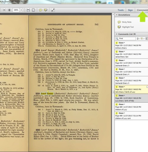 A list of highlighted text, and notes, along the side serve as bookmarks for locations within the book.