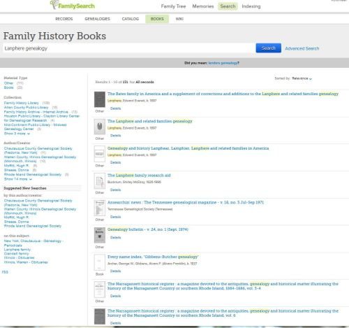 The Lanphere genealogy search on FamilySearch BOOKS brought up 131 results. Some look new to me so I'll check them out.