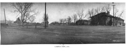 Campus View, 1906. from Colorado College, 1874-1949 by Charlie Brown Hershey, 1949, page follows 120.