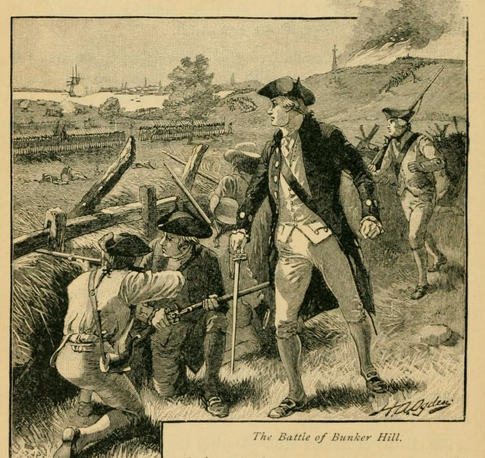 The Battle of Bunker Hill, from the New Eclectic History of the United States by M.E. Tahlheimer, 1890, p. 140.