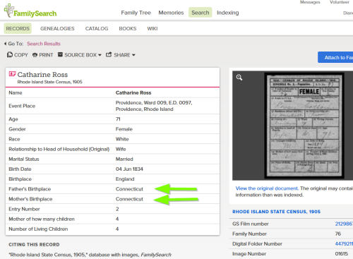 This is the FamilySearch.org screen showing the front of Catherine Ross' card. The transcription provides place of birth of parents for the PREVIOUS card. Click through to the card, then click to the next page, to see the REAL info on the back of Catherine's card.