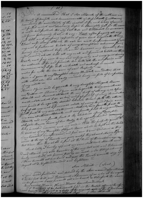 Asa Aldrich's 1818 will as recorded in Cumberland, R.I. probate.