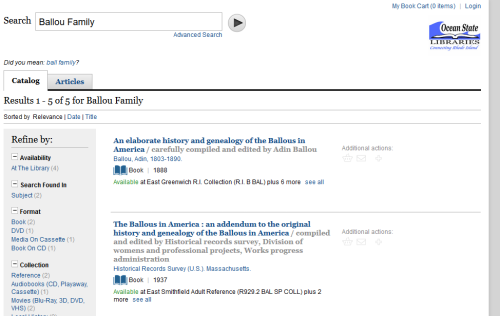 """Searching for """"Ballou family"""" in the public library catalog."""