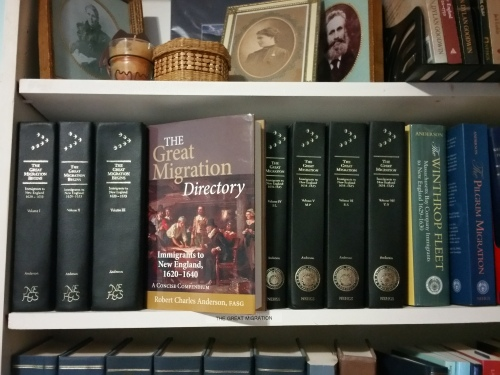 The Great Migration series and Directory. It's important to have regular access to this; it should be in any library with New England genealogy resources. Photo by Diane Boumenot.