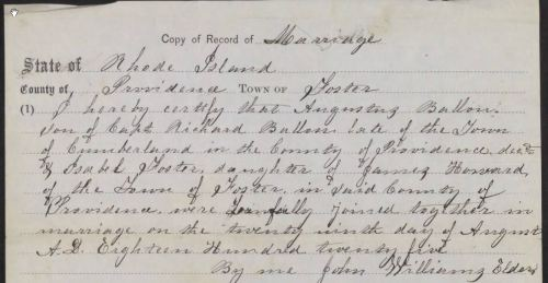 A marriage record found in a pension file. From the War of 1812 pension file of Augustus Ballou, Fold3.com.