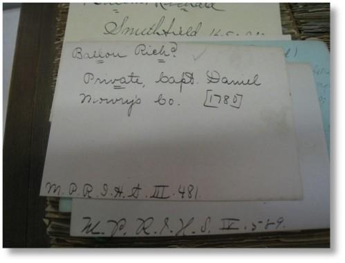 slips in the Revolutionary War index file for my ancestor Richard Ballou.