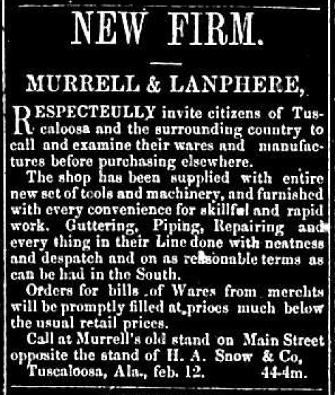 New Firm - Murrell & Lamphere, The Independent Monitor, August 6, 1859