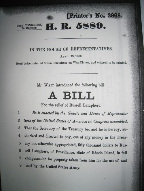 A Bill for the Relief of Russell Lamphere, filed in 1879.