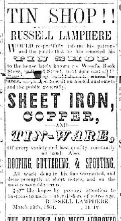 Tin Shop ad, The Observer, Aug 28, 1861