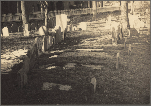 An 1898 photo showing the ancient Dorchester North Burial Ground. From Boston Public Library File 07_10_000036.