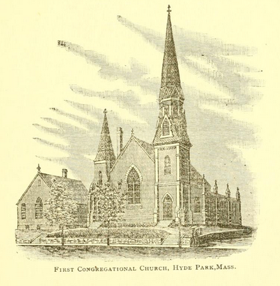 First Congregational Church, Hyde Park, from Hyde Park Historical Record, vol. 4 (1903), p. 73.