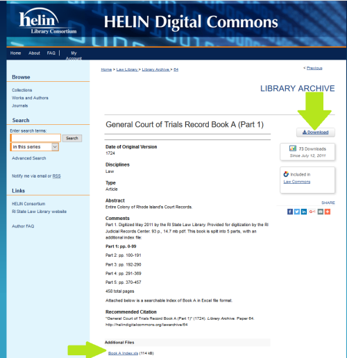 Helin Digital Commons page for Part 1. Note the download button, to store it permanently on your computer, and the index link at the bottom - that downloads as a spreadsheet.