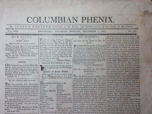 Columbian Phenix, Providence, Saturday, December 1, 1810. I purchased this on eBay recently. What surprised me about holding the paper in my hand was how thick the paper was - just like book paper.