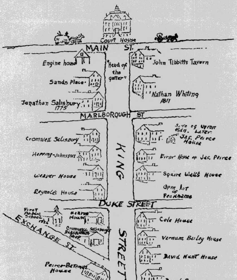 This map of 1820 East Greenwich is provided as evidence that King Street, leading down to the bay, was the main thoroughfare of East Greenwich, not Main Street, where my ancestor had a house. That goes a long way to explain how my ancestor could afford such a classy address - maybe it wasn't - from The History of East Greenwich by McPartland, p. 51.