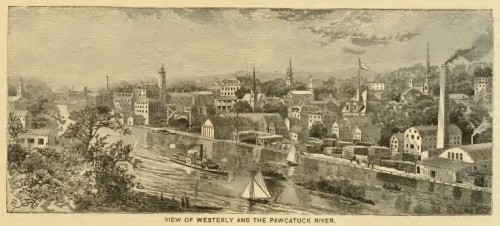 Westerly in a much busier era, 1888, in Picturesque Narragansett, p. 163.